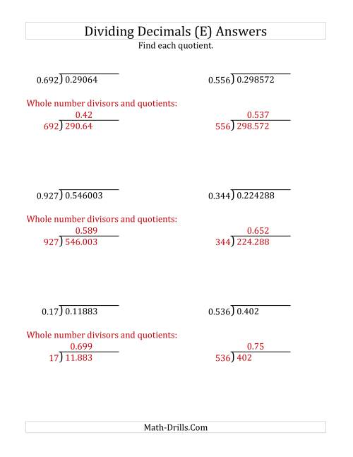 The Dividing Decimals by 3-Digit Thousandths (E) Math Worksheet Page 2