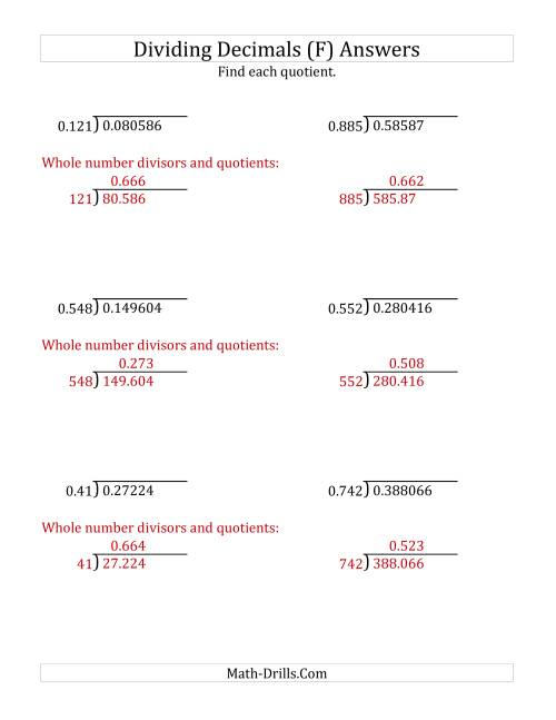 The Dividing Decimals by 3-Digit Thousandths (F) Math Worksheet Page 2