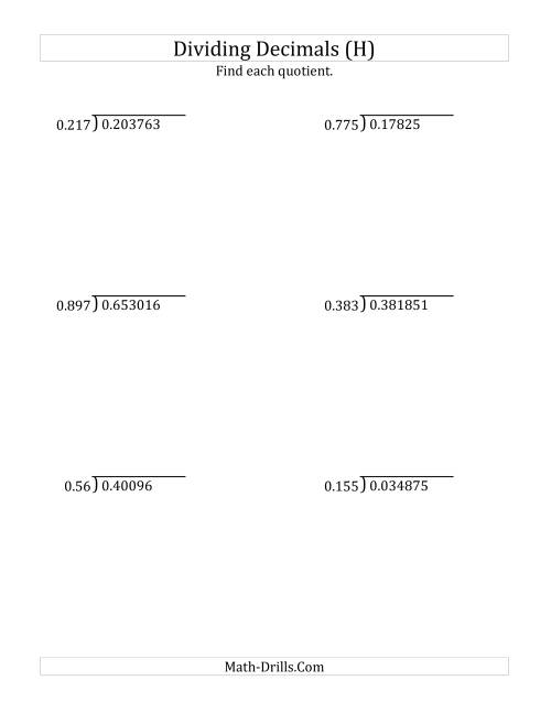 The Dividing Decimals by 3-Digit Thousandths (H) Math Worksheet