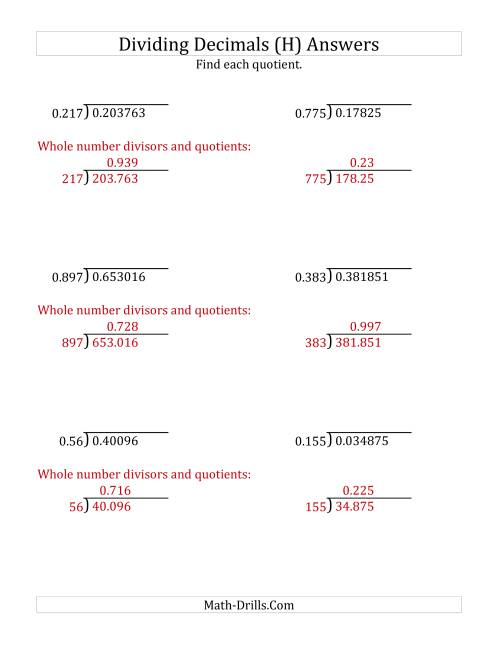 The Dividing Decimals by 3-Digit Thousandths (H) Math Worksheet Page 2