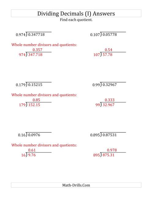 The Dividing Decimals by 3-Digit Thousandths (I) Math Worksheet Page 2