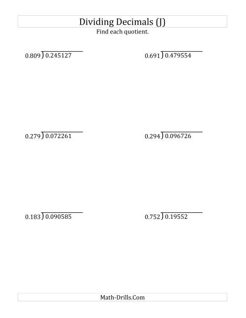 The Dividing Decimals by 3-Digit Thousandths (J) Math Worksheet