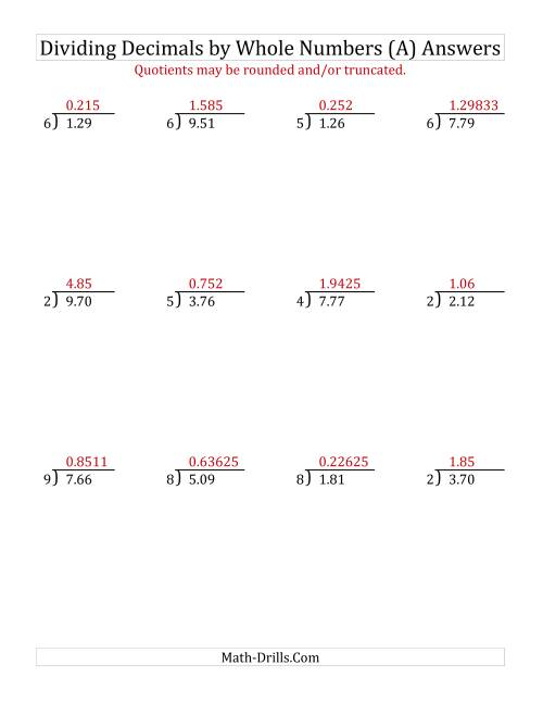 The Dividing Hundredths by a Whole Number (A) Math Worksheet Page 2