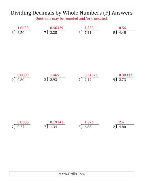 The Dividing Hundredths by a Whole Number (F) Math Worksheet Page 2