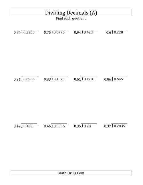 Dividing Decimals by 2 Digit Hundredths A Decimals Worksheet
