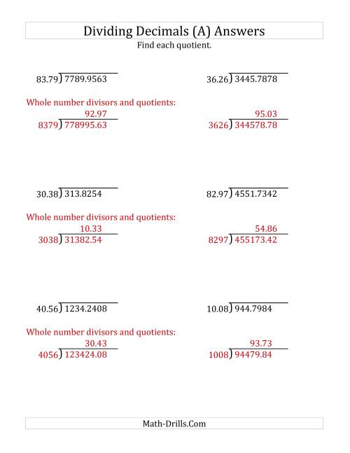 The Dividing Decimals by 4-Digit Hundredths (A) Math Worksheet Page 2