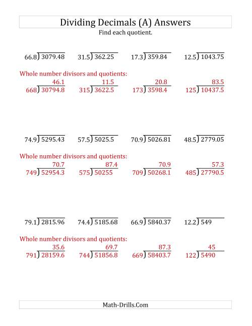 The Dividing Decimals by 3-Digit Tenths (A) Math Worksheet Page 2