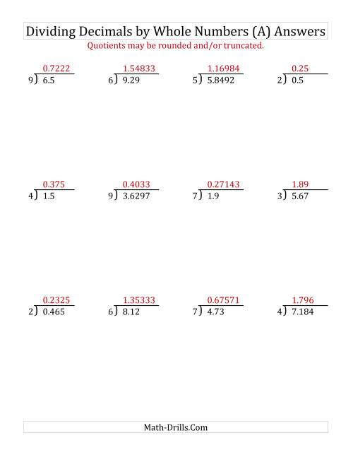 The Dividing Various Decimal Places by a Whole Number (A) Math Worksheet Page 2