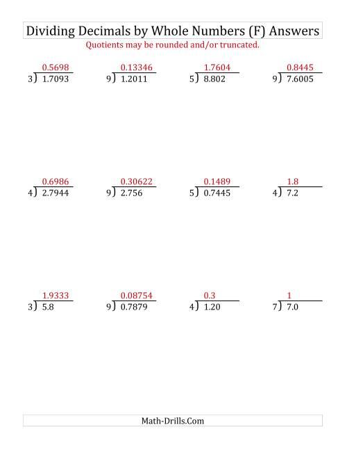 The Dividing Various Decimal Places by a Whole Number (F) Math Worksheet Page 2