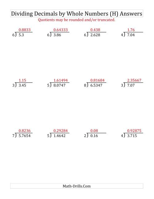 The Dividing Various Decimal Places by a Whole Number (H) Math Worksheet Page 2