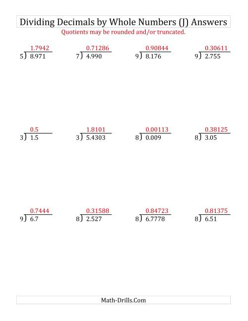 The Dividing Various Decimal Places by a Whole Number (J) Math Worksheet Page 2
