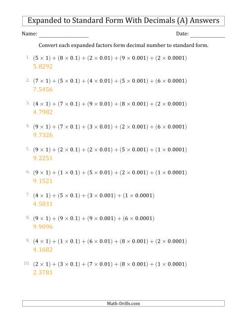 The Converting Expanded Factors Form Decimals Using Decimals to Standard Form (1-Digit Before the Decimal; 4-Digits After the Decimal) (A) Math Worksheet Page 2
