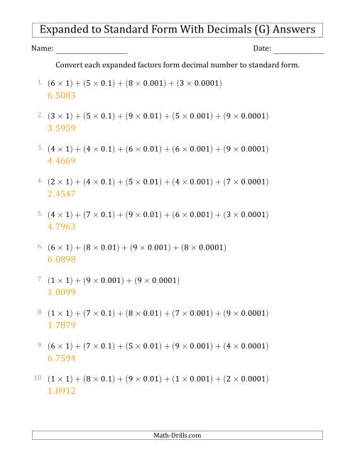 The Converting Expanded Factors Form Decimals Using Decimals to Standard Form (1-Digit Before the Decimal; 4-Digits After the Decimal) (G) Math Worksheet Page 2