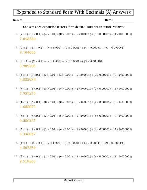 The Converting Expanded Factors Form Decimals Using Decimals to Standard Form (1-Digit Before the Decimal; 6-Digits After the Decimal) (A) Math Worksheet Page 2