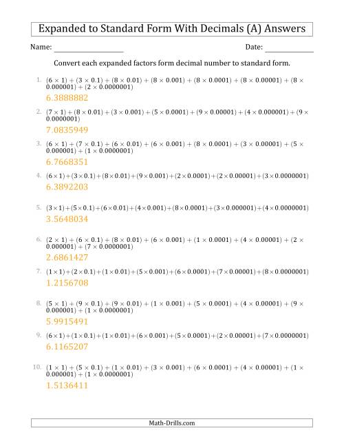 The Converting Expanded Factors Form Decimals Using Decimals to Standard Form (1-Digit Before the Decimal; 7-Digits After the Decimal) (A) Math Worksheet Page 2