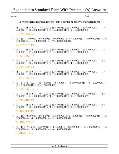The Converting Expanded Factors Form Decimals Using Decimals to Standard Form (1-Digit Before the Decimal; 9-Digits After the Decimal) (A) Math Worksheet Page 2