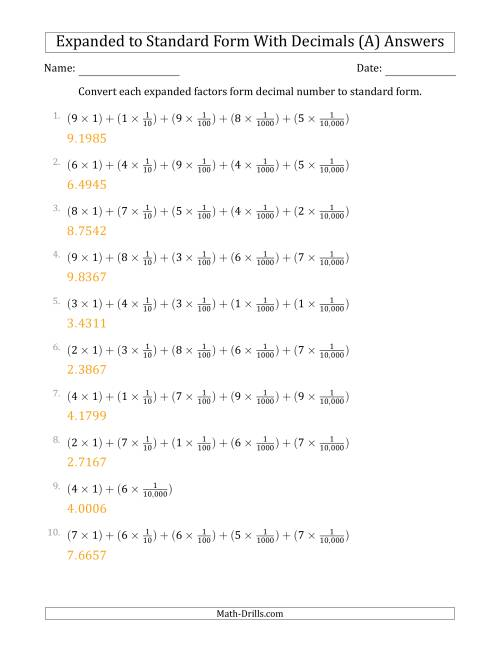 The Converting Expanded Factors Form Decimals Using Fractions to Standard Form (1-Digit Before the Decimal; 4-Digits After the Decimal) (A) Math Worksheet Page 2