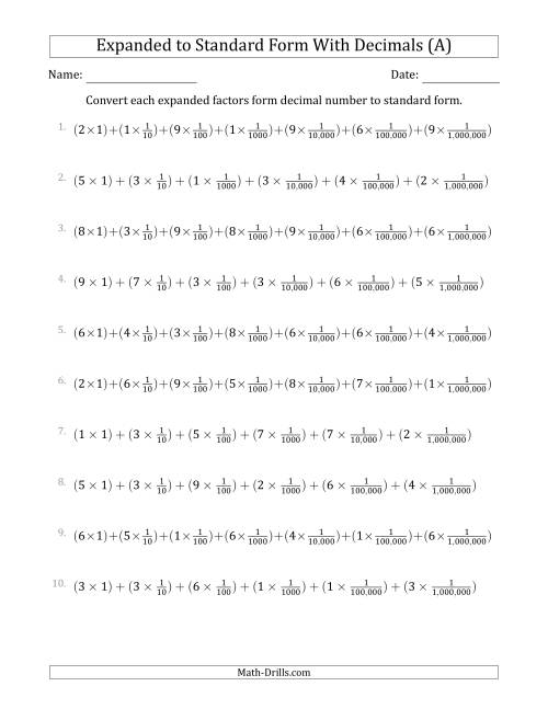 The Converting Expanded Factors Form Decimals Using Fractions to Standard Form (1-Digit Before the Decimal; 6-Digits After the Decimal) (A) Math Worksheet