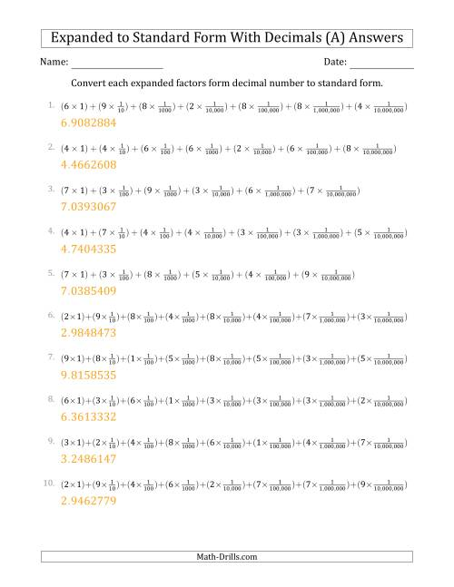 The Converting Expanded Factors Form Decimals Using Fractions to Standard Form (1-Digit Before the Decimal; 7-Digits After the Decimal) (All) Math Worksheet Page 2