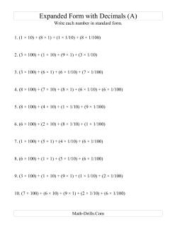 decimals worksheets writing expanded form decimal numbers in standard form