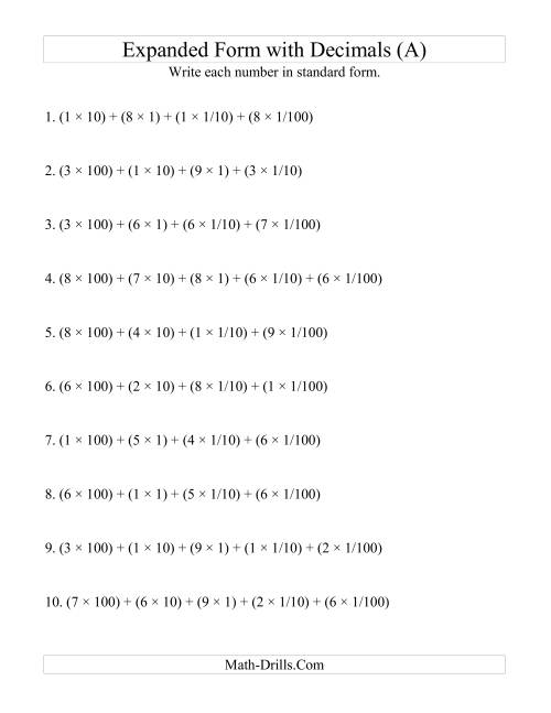 Decimals In Expanded Form Worksheets standard form worksheets – Expanded Form Worksheets