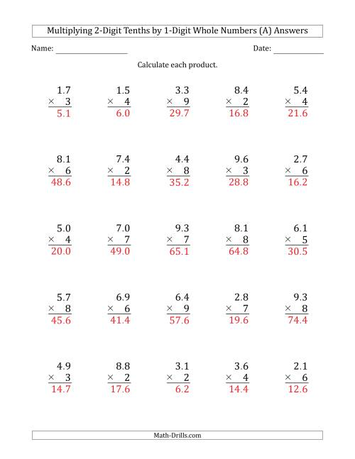 The Multiplying 2-Digit Tenths by 1-Digit Whole Numbers (All) Math Worksheet Page 2