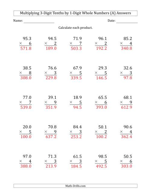 The Multiplying 3-Digit Tenths by 1-Digit Whole Numbers (A) Math Worksheet Page 2