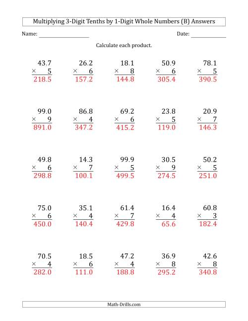The Multiplying 3-Digit Tenths by 1-Digit Whole Numbers (B) Math Worksheet Page 2