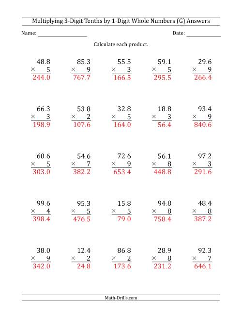 The Multiplying 3-Digit Tenths by 1-Digit Whole Numbers (G) Math Worksheet Page 2
