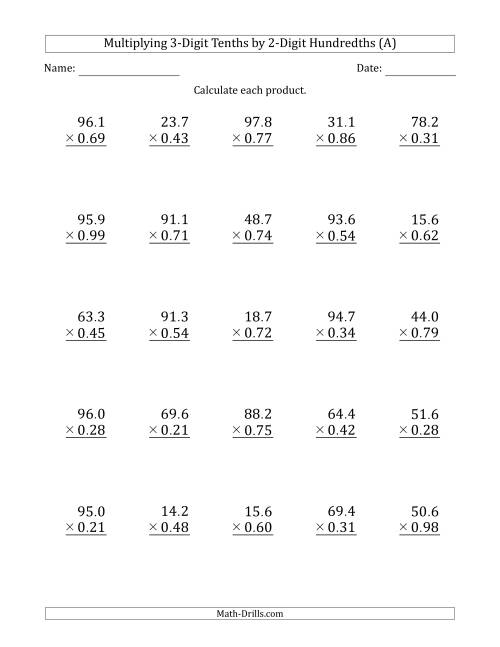 The Multiplying 3-Digit Tenths by 2-Digit Hundredths (A) Math Worksheet