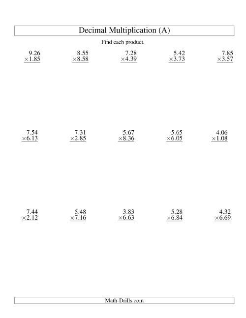 Decimals Multiplication Worksheet Decimal Multiplication Range To – Multiplying Decimals Worksheets Grade 7