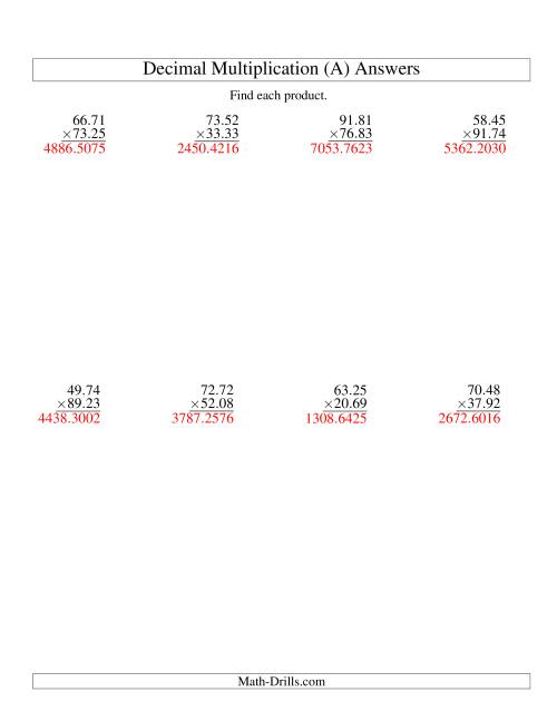 The Vertical Decimal Multiplication (range 10.01 to 99.99) (A) Math Worksheet Page 2