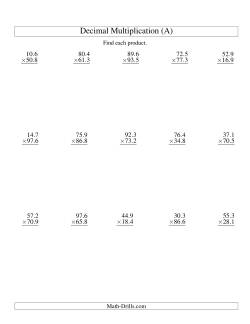 Vertical Decimal Multiplication (range 10.1 to 99.9) (A)