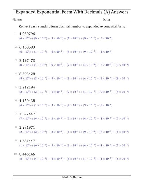 The Converting Standard Form Decimals to Expanded Exponential Form (1-Digit Before the Decimal; 6-Digits After the Decimal) (A) Math Worksheet Page 2