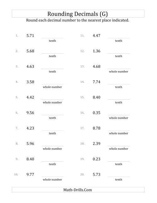 The Rounding Hundredths to Various Decimal Places (G) Math Worksheet