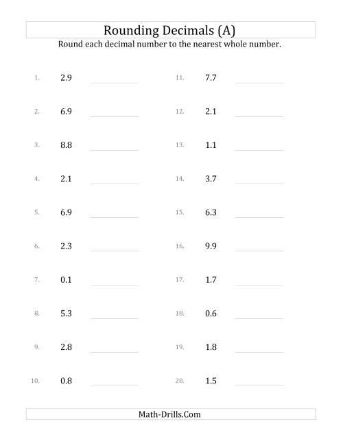 Worksheets Rounding Whole Numbers Worksheet rounding tenths to whole numbers a the math worksheet