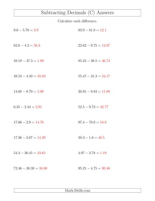 Subtracting Decimals With Up to Two Places Before and