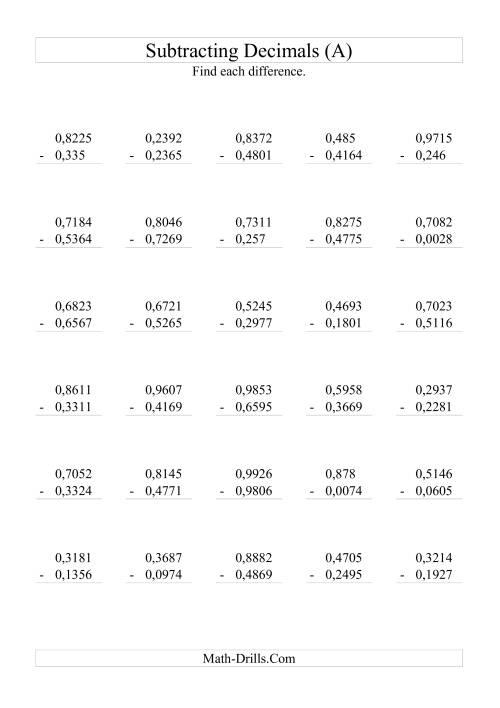 worksheet Subtraction Decimals Worksheet subtracting decimals range 00001 to 09999 a