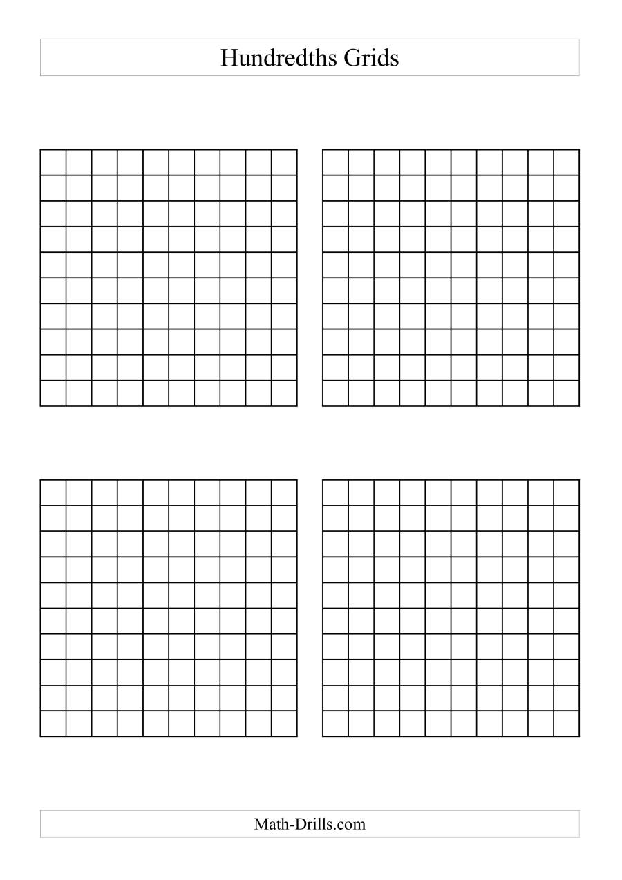 photograph relating to Hundredths Grid Printable named 4 x Hundredths Grids (A)