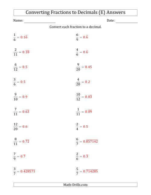 The Converting Fractions to Terminating and Repeating Decimals (E) Math Worksheet Page 2