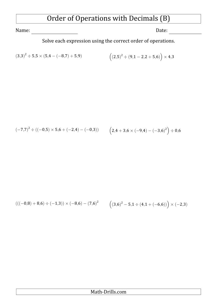 The Order of Operations with Negative and Positive Decimals (Five Steps; Comma Decimal Format) (B) Math Worksheet