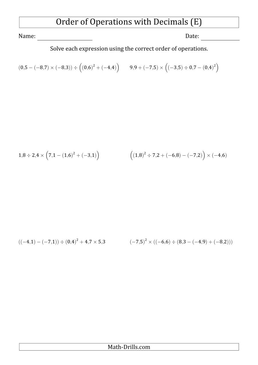 The Order of Operations with Negative and Positive Decimals (Five Steps; Comma Decimal Format) (E) Math Worksheet