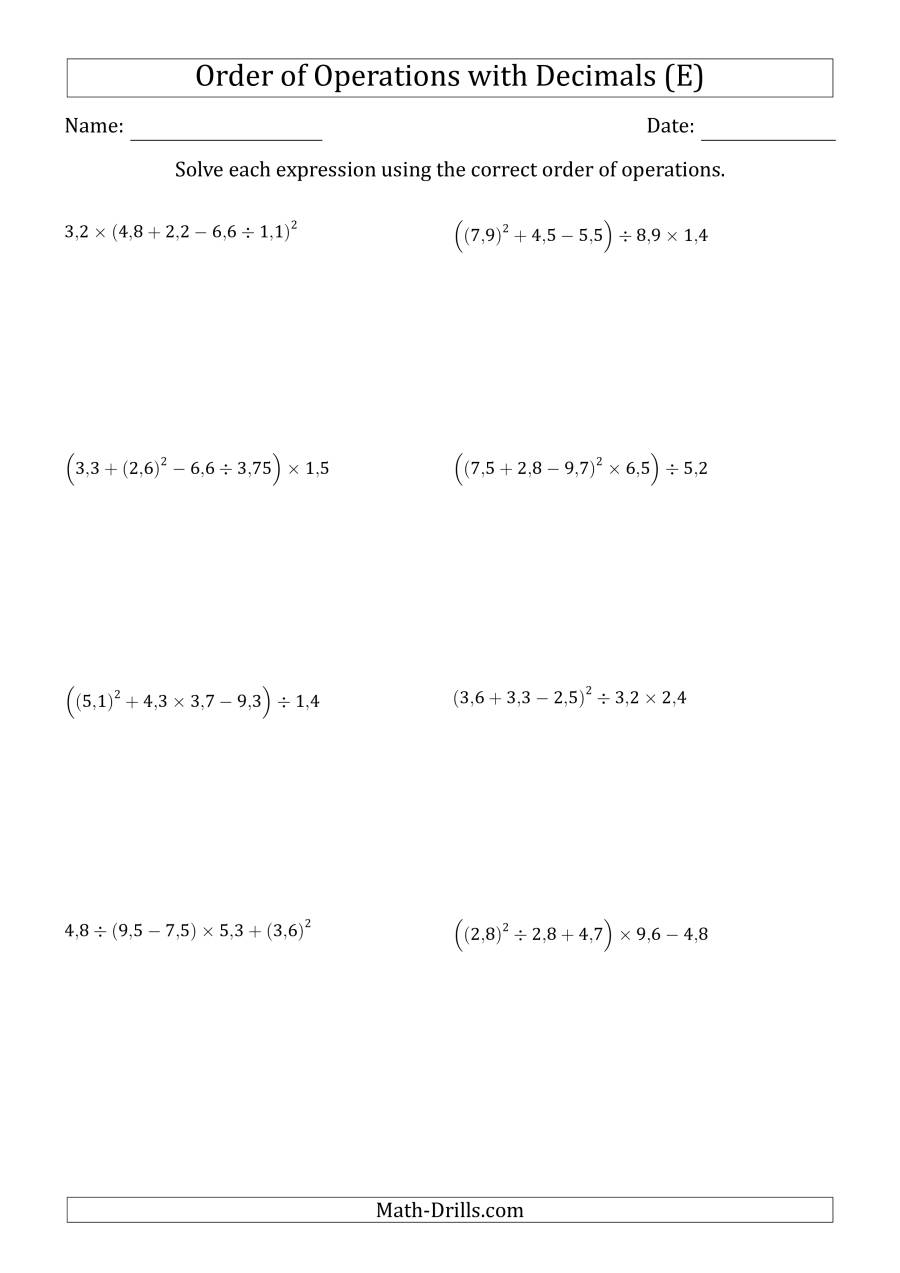 The Order of Operations with Positive Decimals (Five Steps; Comma Decimal Format) (E) Math Worksheet
