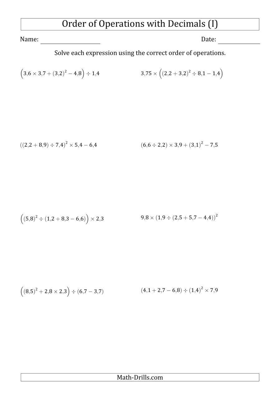 The Order of Operations with Positive Decimals (Five Steps; Comma Decimal Format) (I) Math Worksheet