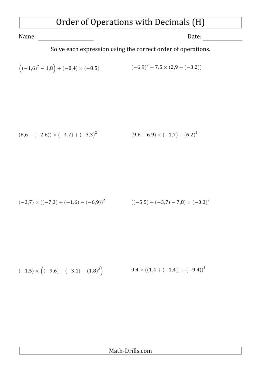 The Order of Operations with Negative and Positive Decimals (Four Steps; Comma Decimal Format) (H) Math Worksheet