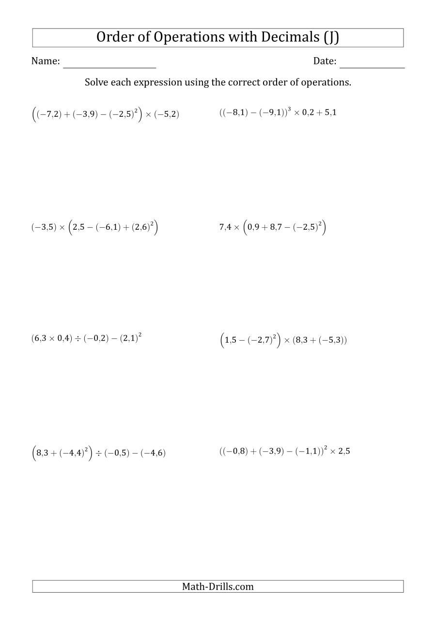 The Order of Operations with Negative and Positive Decimals (Four Steps; Comma Decimal Format) (J) Math Worksheet