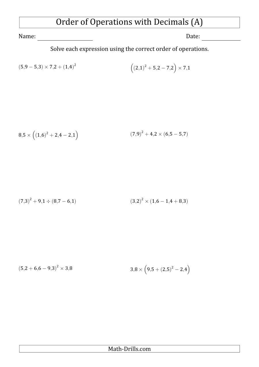 The Order of Operations with Positive Decimals (Four Steps; Comma Decimal Format) (A) Math Worksheet