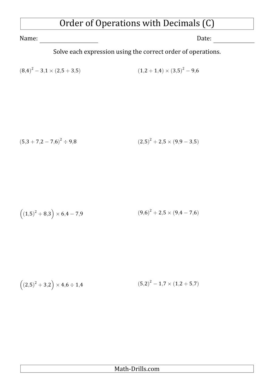 The Order of Operations with Positive Decimals (Four Steps; Comma Decimal Format) (C) Math Worksheet