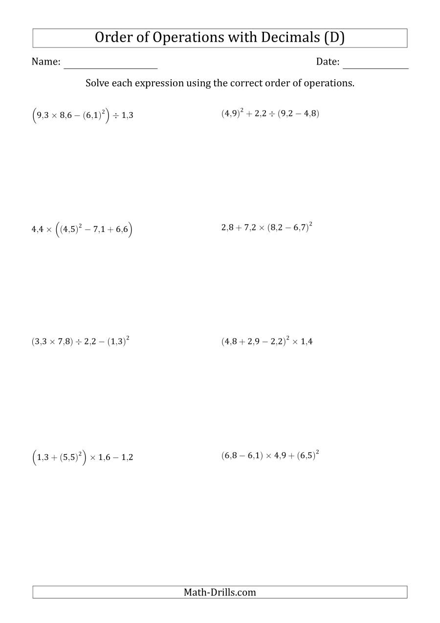 The Order of Operations with Positive Decimals (Four Steps; Comma Decimal Format) (D) Math Worksheet
