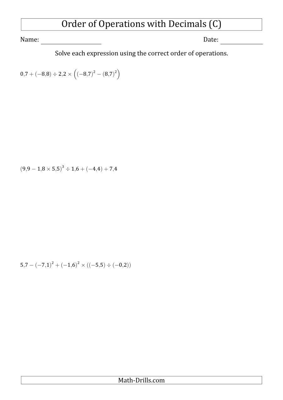 The Order of Operations with Negative and Positive Decimals (Six Steps; Comma Decimal Format) (C) Math Worksheet
